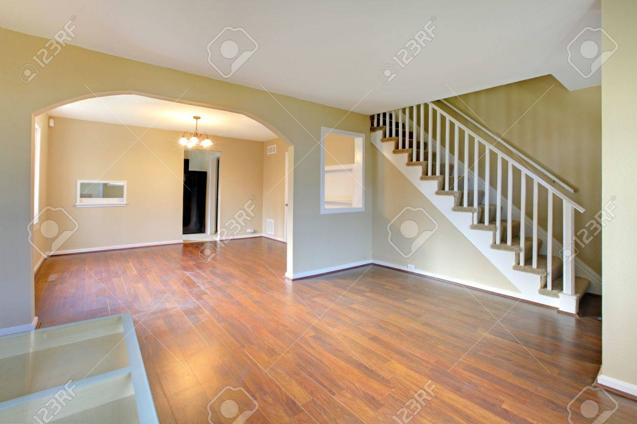Living room with staircase empty and new Stock Photo - 12312587