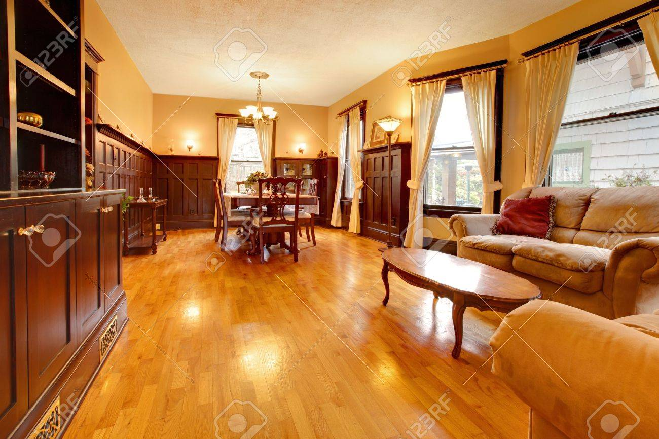 gold mahogany luxury living room and hardwood stock photo picture