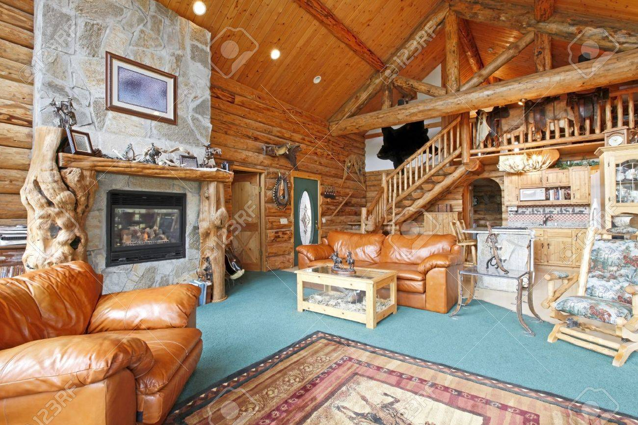 log cabin interior stock photos pictures royalty free log cabin log cabin interior horse farm log cabin in washington state stock photo