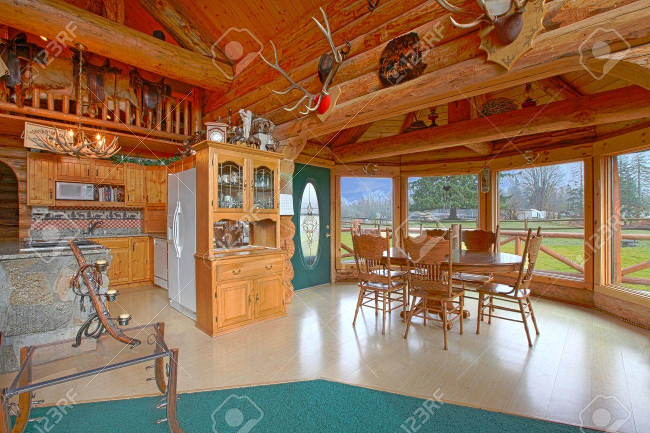 Rustic Log Cabin On The Horse Farm Dining Room And Kitchen Stock Photo    12312297