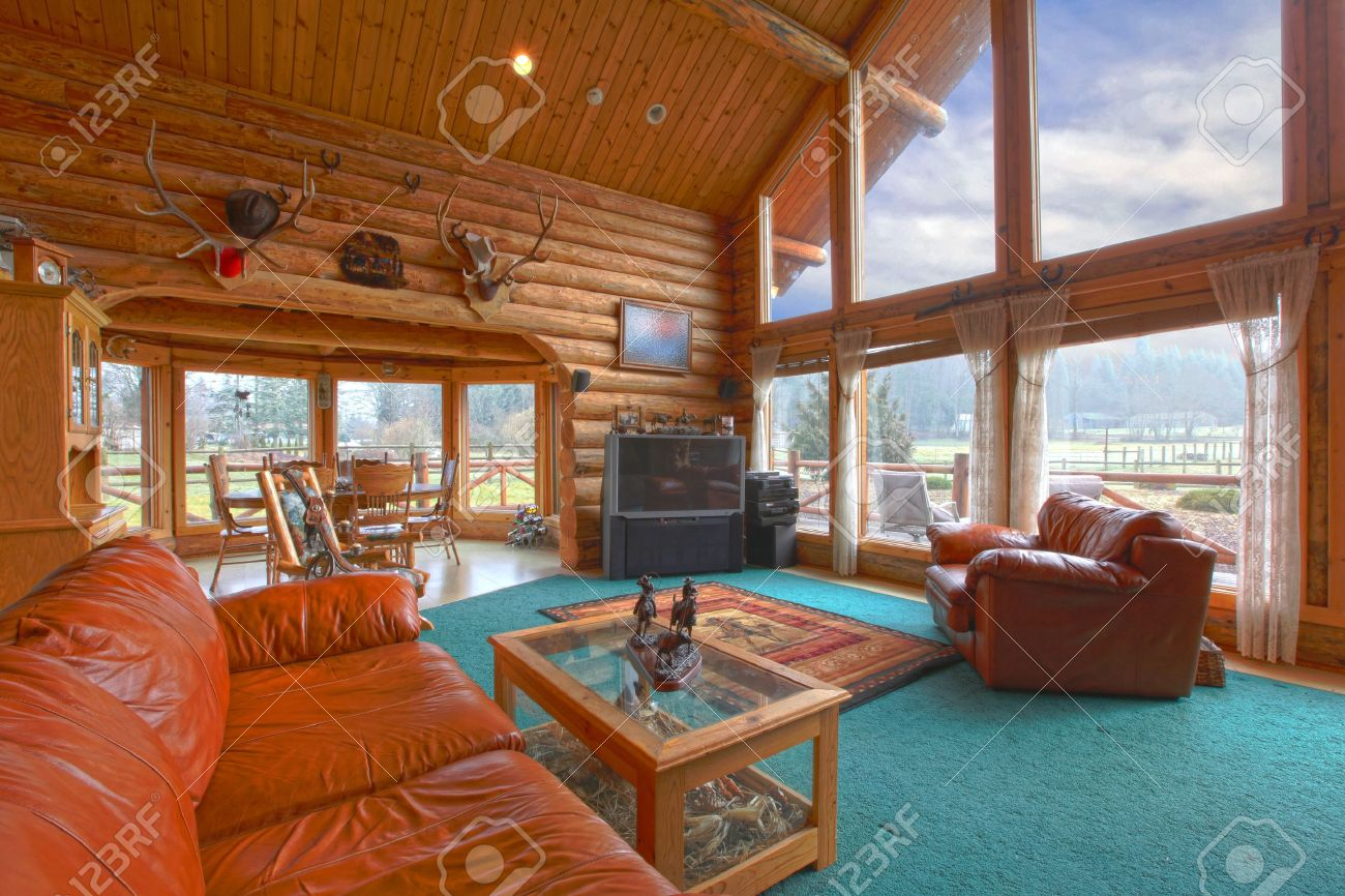 Cabin living room furniture sets - Large Living Room In The Rustic Log Cabin On The Horse Farm Stock Photo 12312295