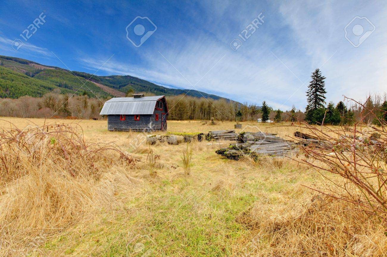 Build in 1907 old shed in Ashford, near Mt.Ranier, Washington State Stock Photo - 12312204