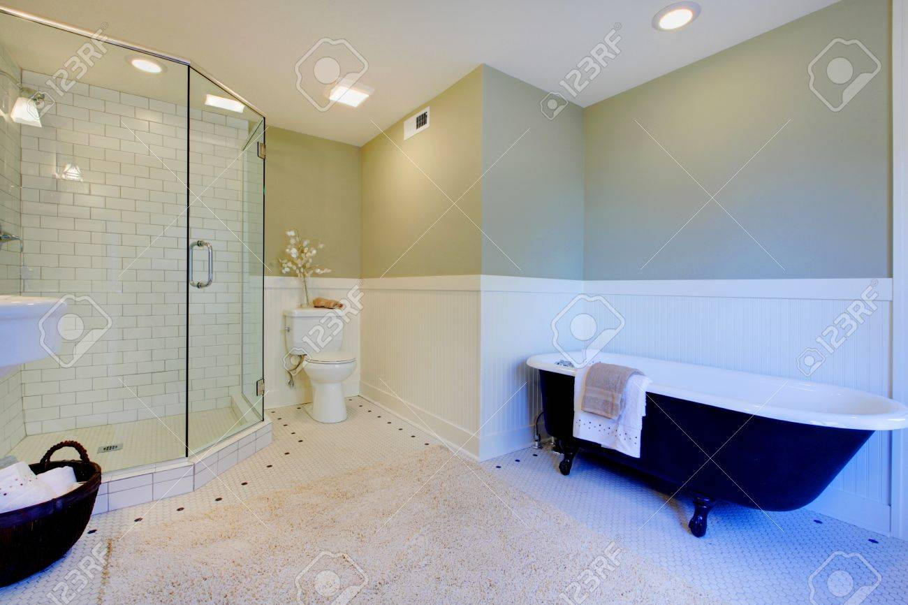 Luxury Bathroom With Iron Tub And Walk-in Shower Stock Photo ...