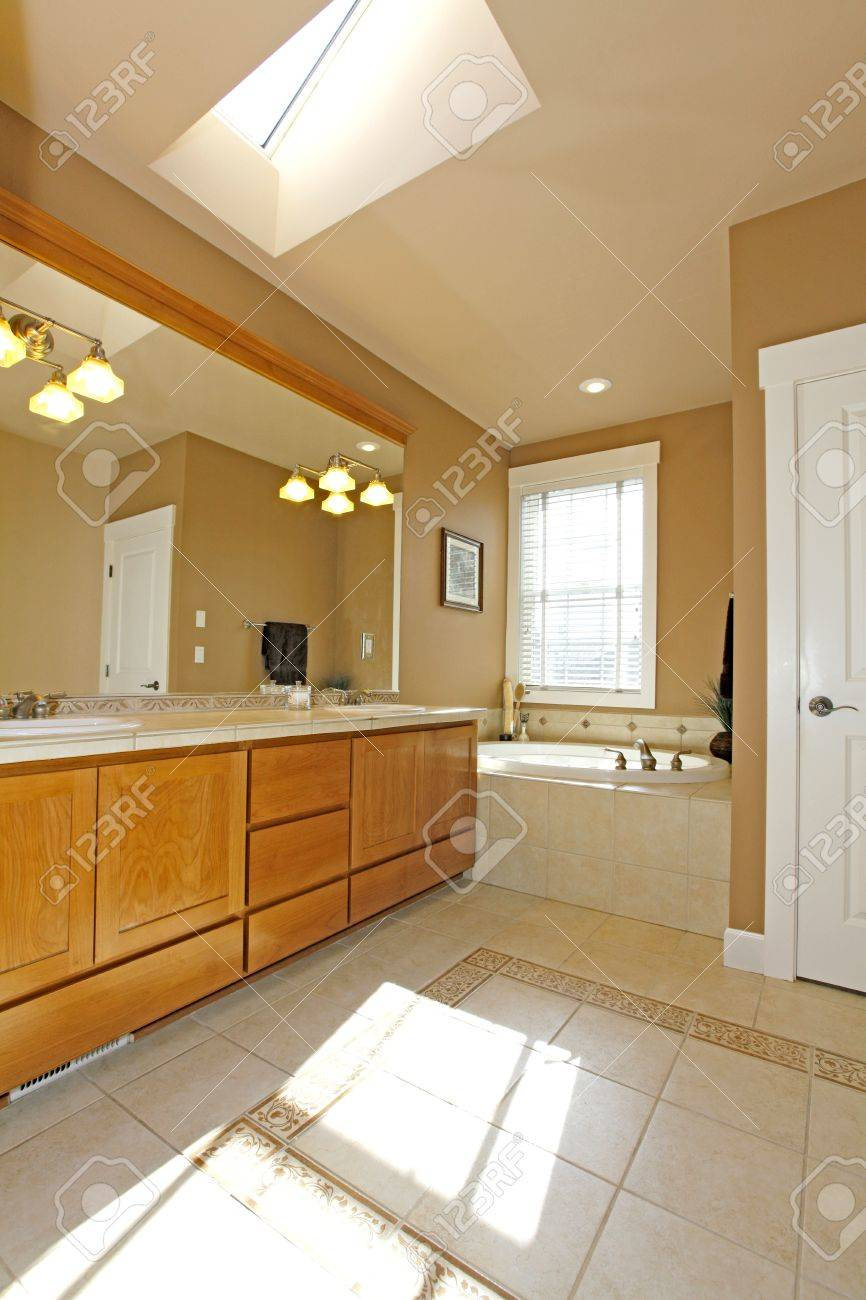 Classic American bathroom with sky light. Stock Photo - 12312466