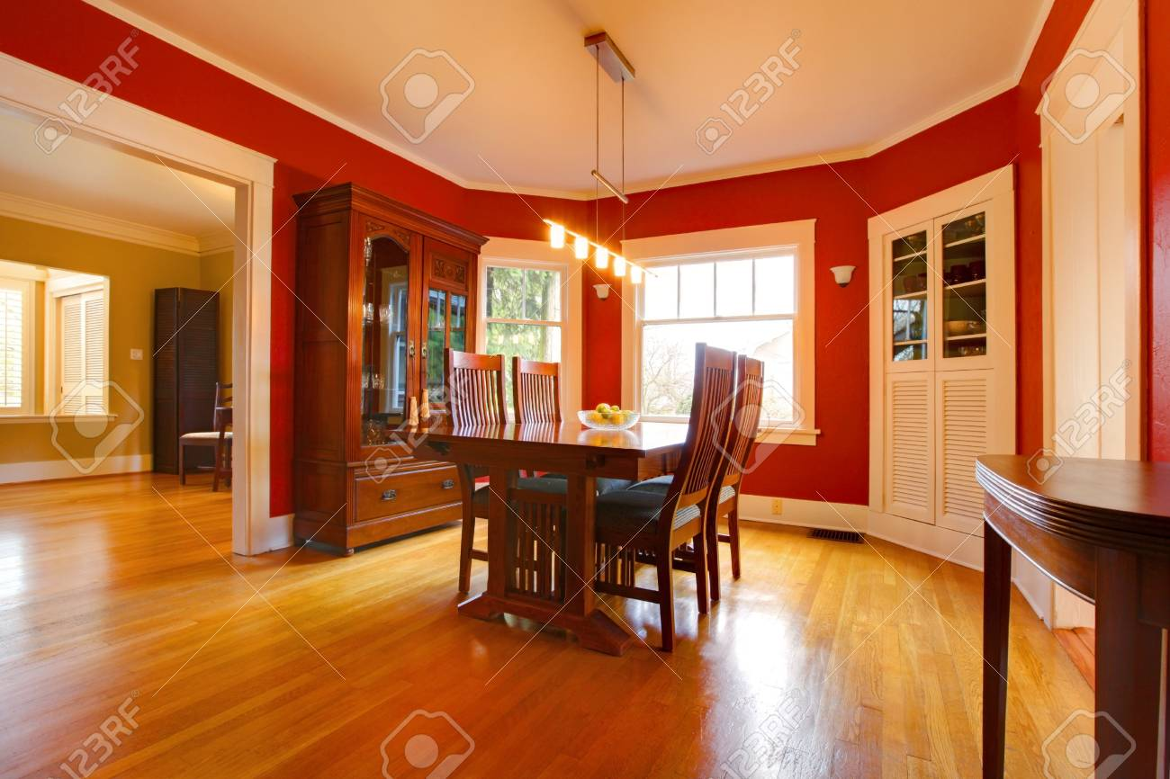 Red dining room. Stock Photo - 12295650