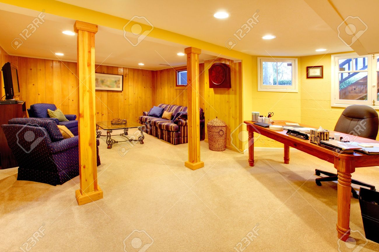 Yellow Basement Living Room With Office Desk. Stock Photo   12319413 Part 94