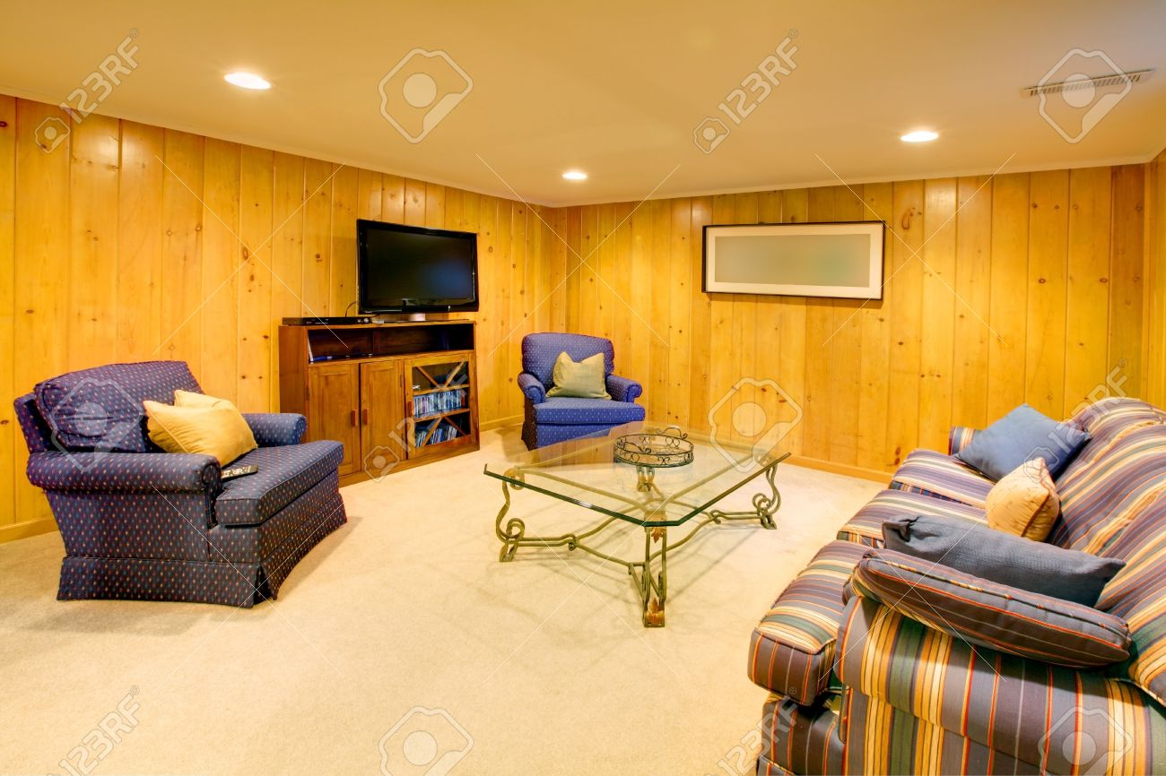 Wood walls living room with TV. Stock Photo - 12319420