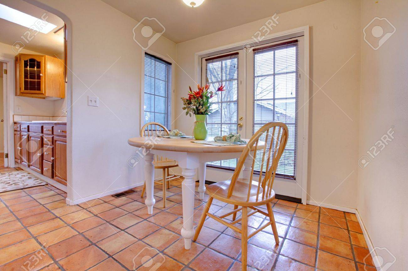 Dining Room Table With Tile And French Door Photo Picture – French Doors Dining Room