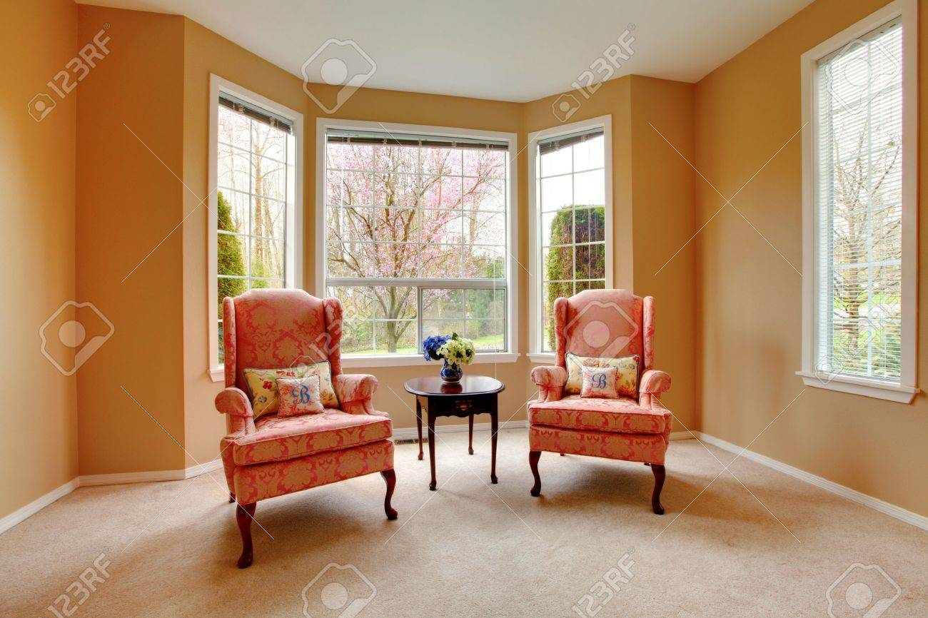 Elegant Living Room With Two Pink Arm Chairs. Stock Photo, Picture ...