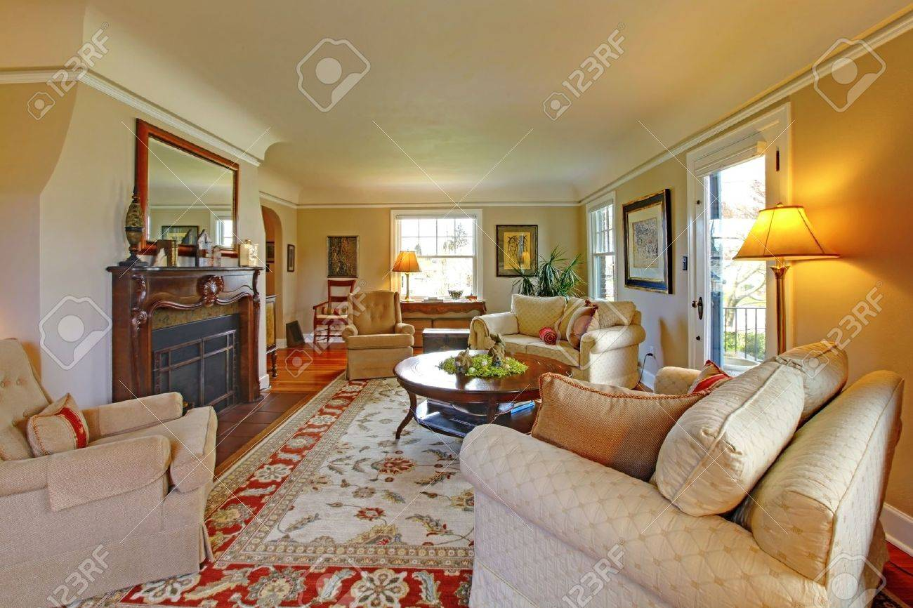 Red And Beige Living Room Large Cozy Living Room With Red And Beige Chairs Stock Photo