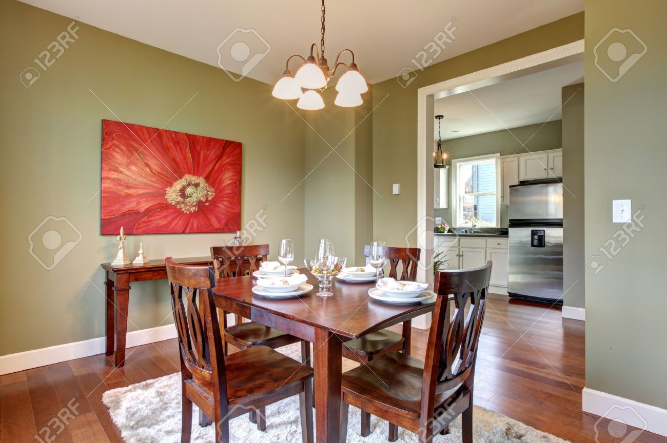 Dining Room And Kitchen Beautiful Green Dining Room With Kitchen View Stock Photo