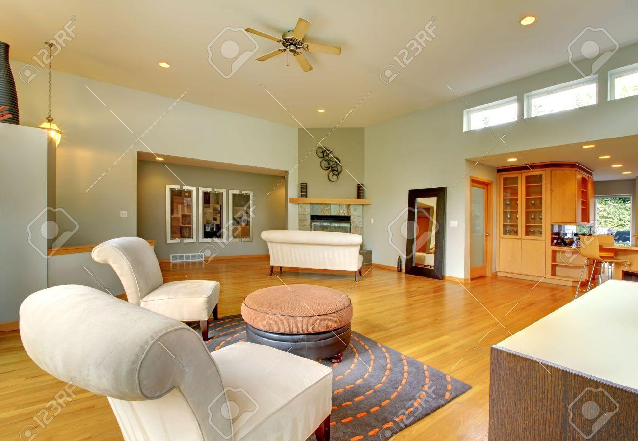 Fantástico Moderna Sala De Estar Interior De La Casa. Gran Sala De ...