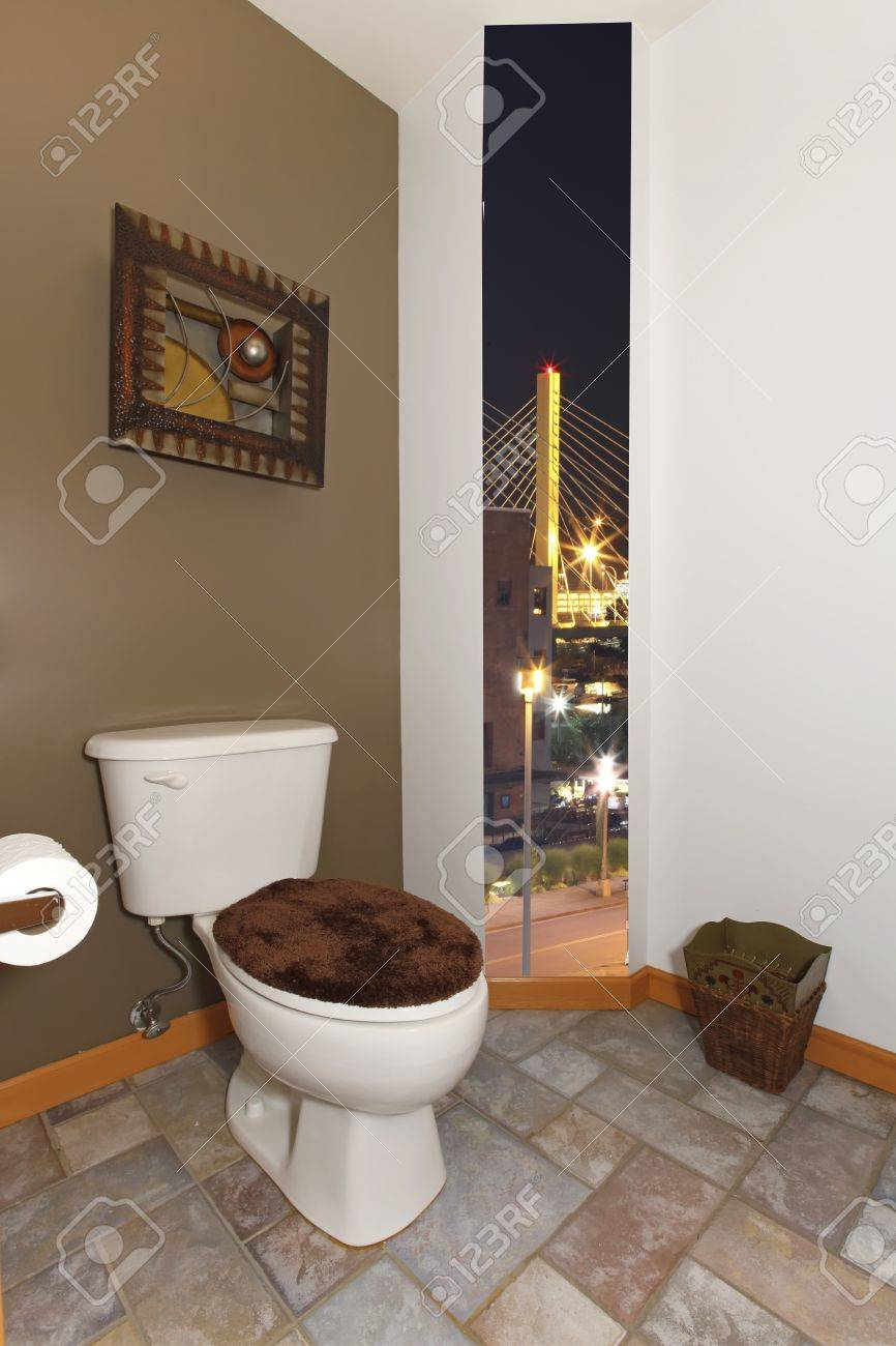 Toilet bathroom with green wall and art in brown Stock Photo - 12621224