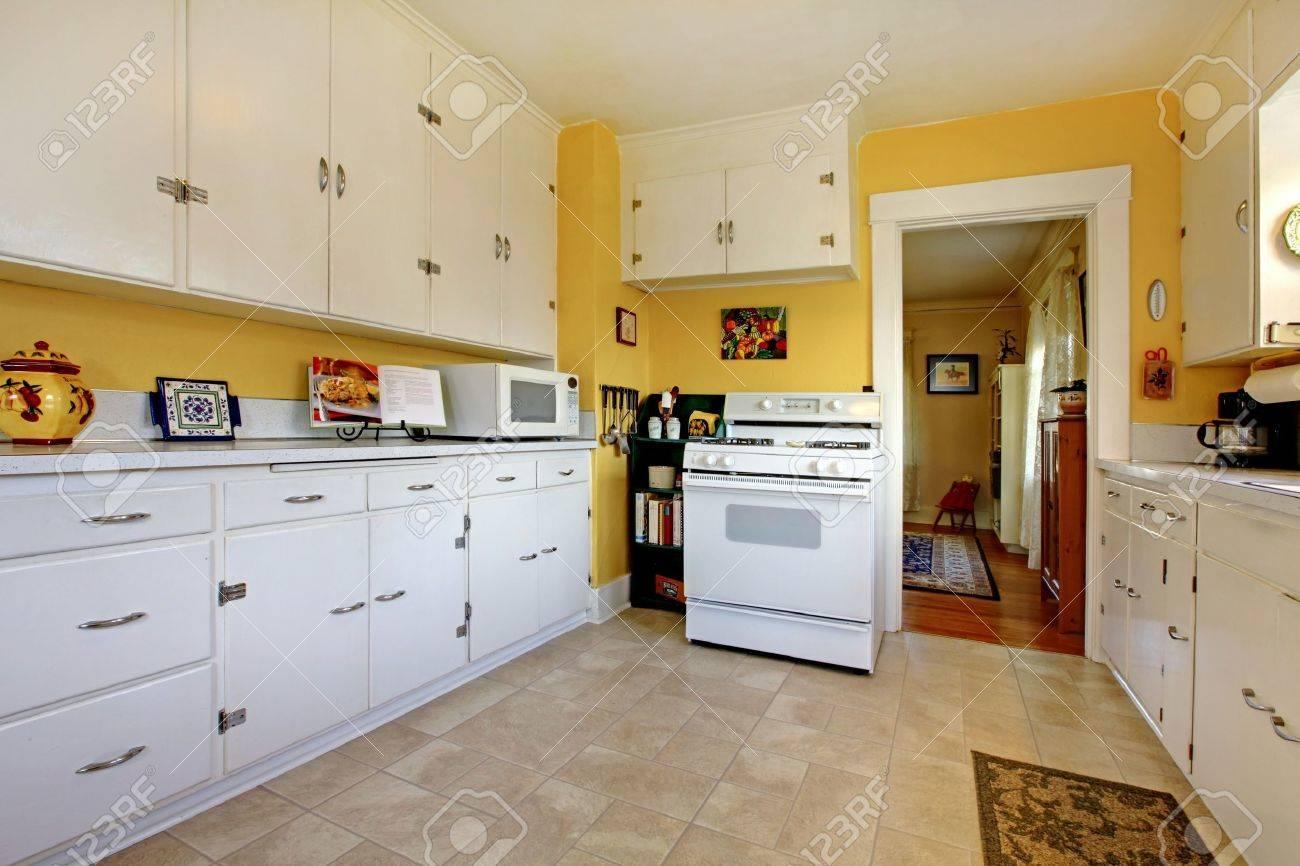 Cozy Simple White English Style Kitchen Interior. Stock Photo   12621481