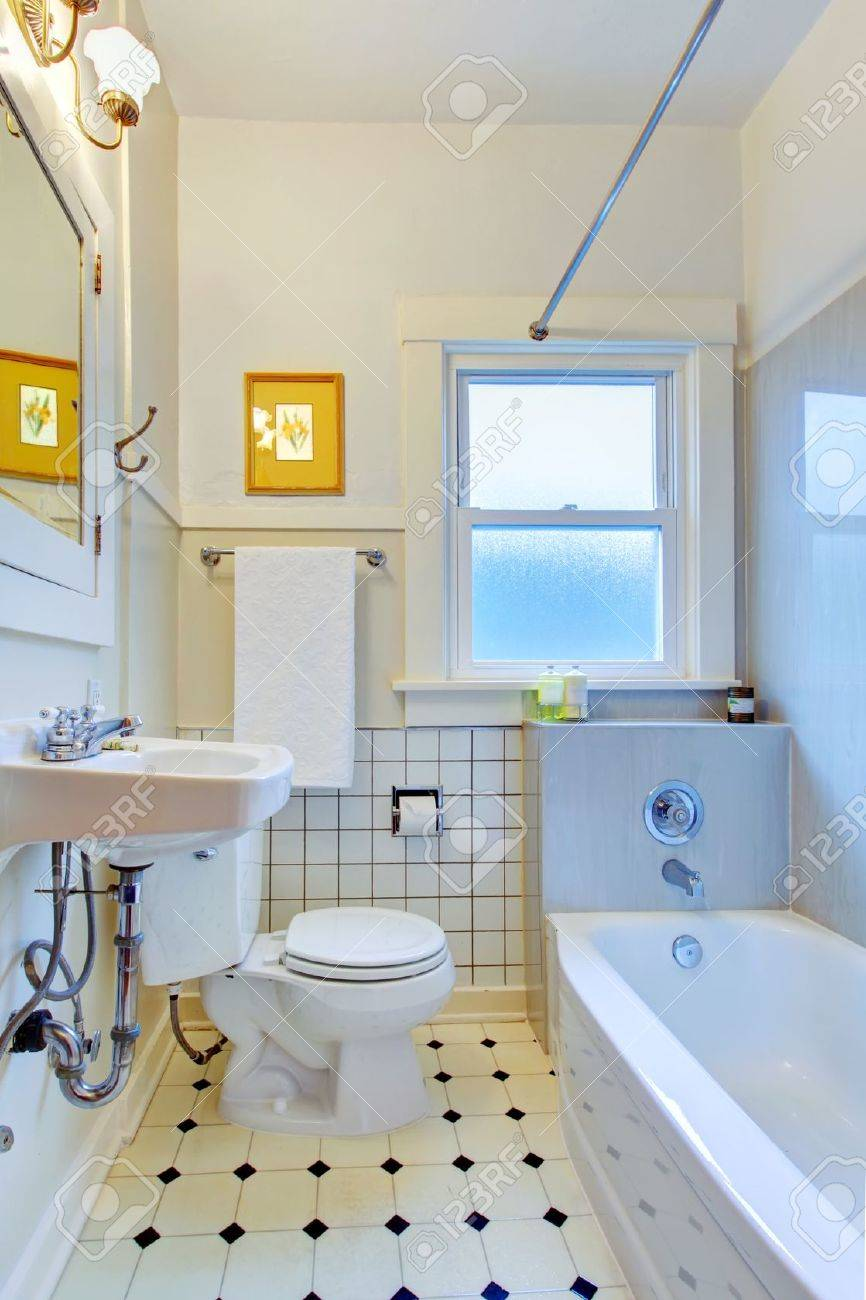 Simple bathrooms with shower - White Old Simple Bathroom With Tub And Sink Stock Photo Picture