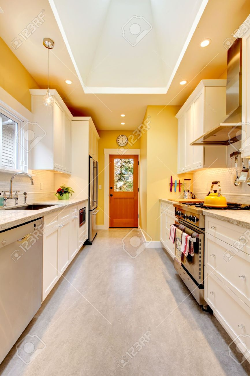 Yellow And White Kitchen Yellow And White Bright Kitchen With Skylight And Grey Floor