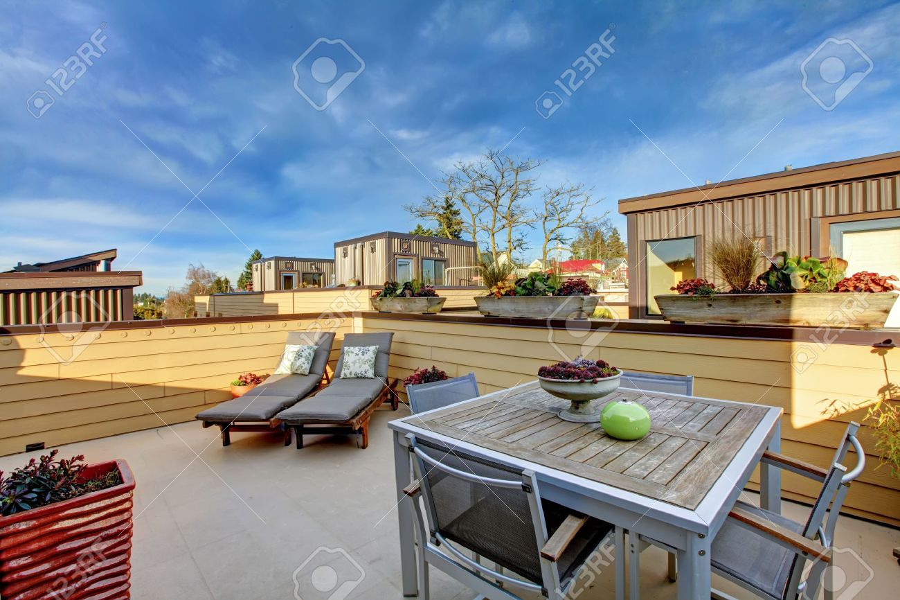 Apartment Building Roof Top Terrace Exterior With Modern Living Stock Photo Picture And Royalty Free Image Image 12913804