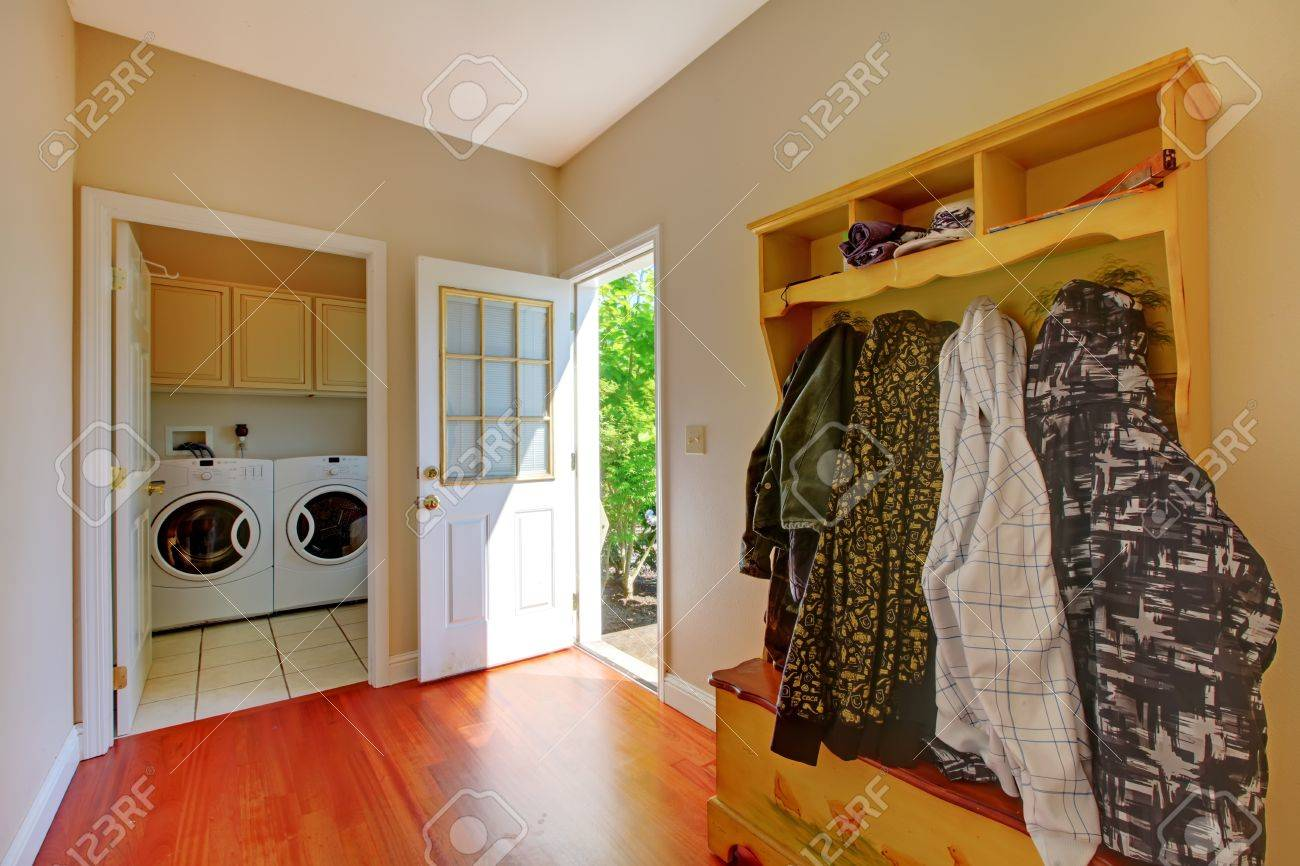 Laundry room with mud room and clothes. Stock Photo - 13122505