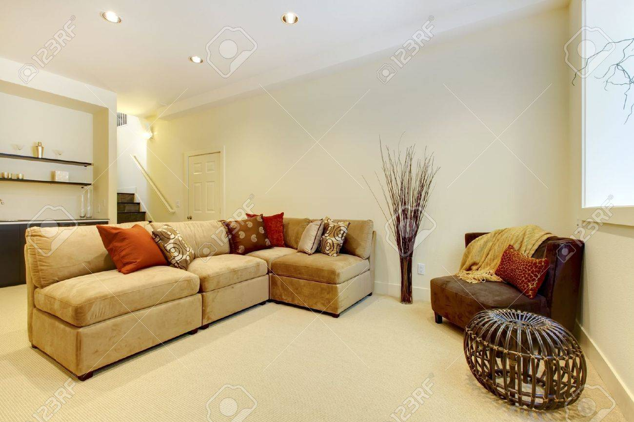 Basement Area With Living Room And Bathroom Near Bar. Stock Photo   13122501
