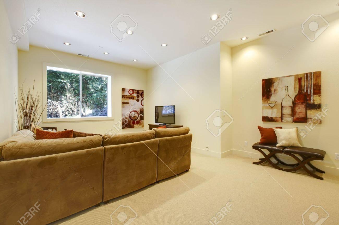 Basement area with living room and bathroom near bar. Stock Photo - 13122480