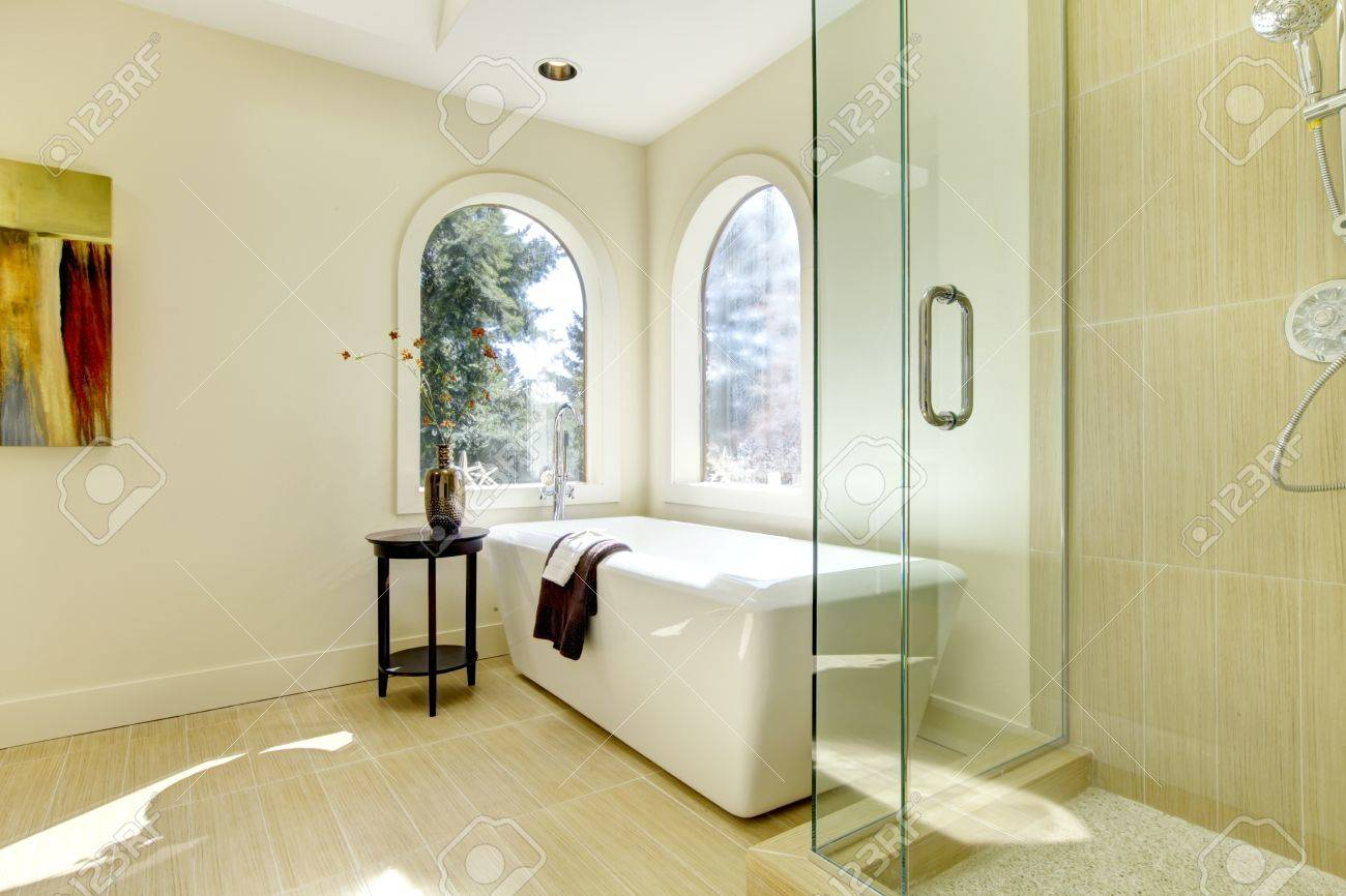 Luxury natural classic bathroom with shower and white tub. Stock Photo - 13122471