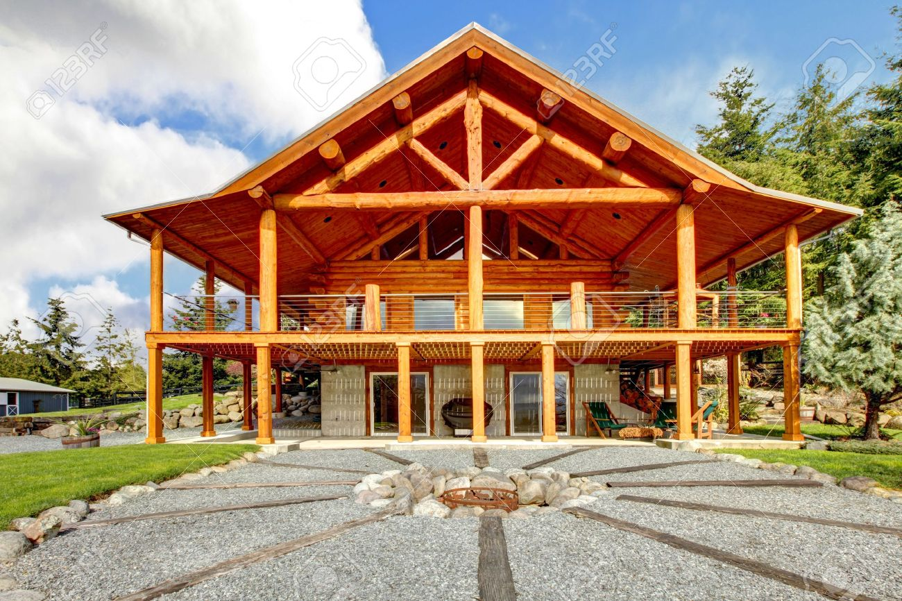 Large Log Cabin With Large Porch And Fire Circle Stock Photo Picture And Royalty Free Image Image 13294831