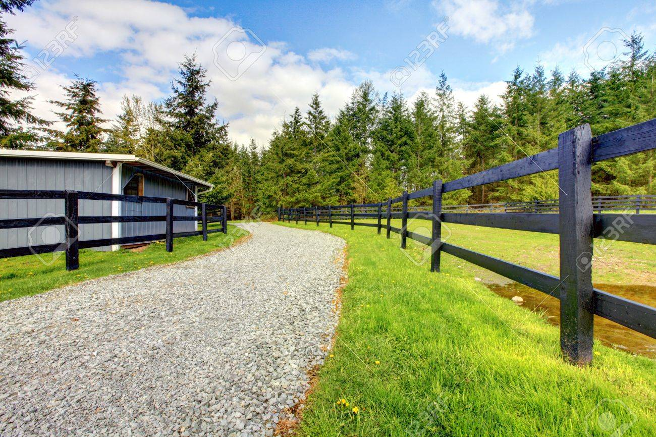 Horse farm with road, fence and shed with green grass. Stock Photo - 13294849