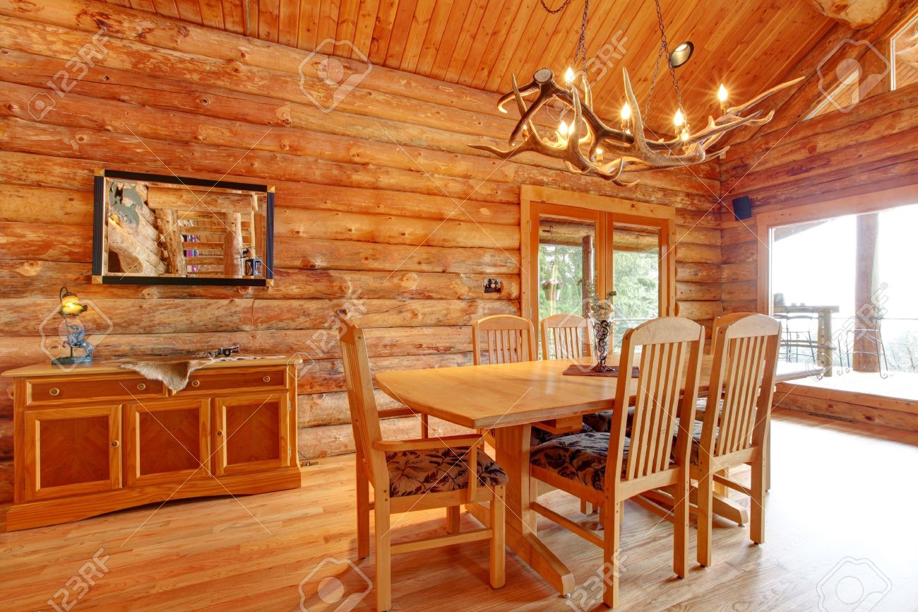 Amazing Log Cabin Dining Room Interior With Custom Furniture. Stock Photo   13369376