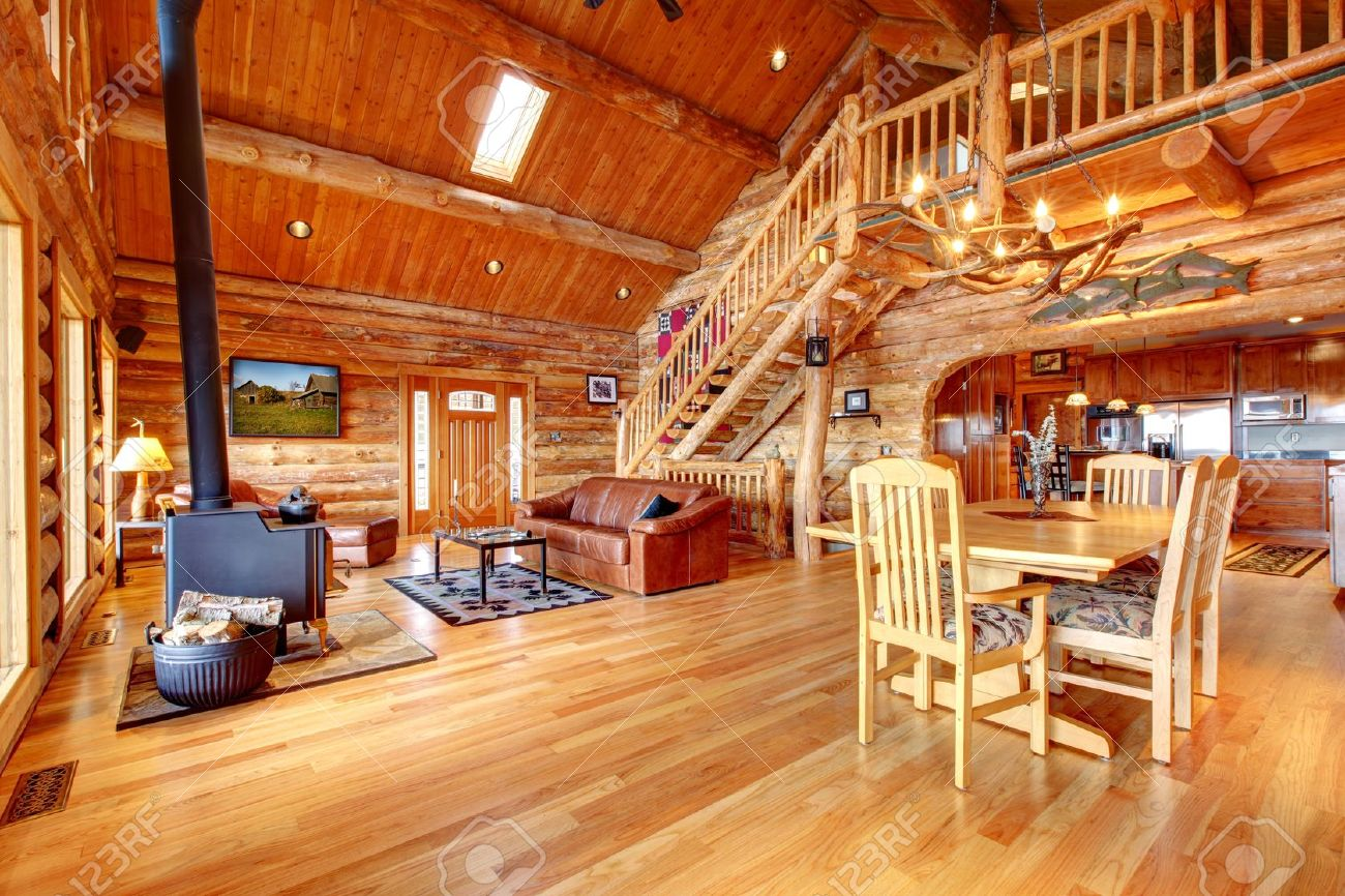 Large Luxury Log House Living Room With Staircase. Stock Photo ...