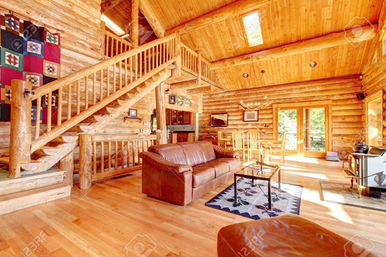 log cabin living room log cabin living room with fireplace and