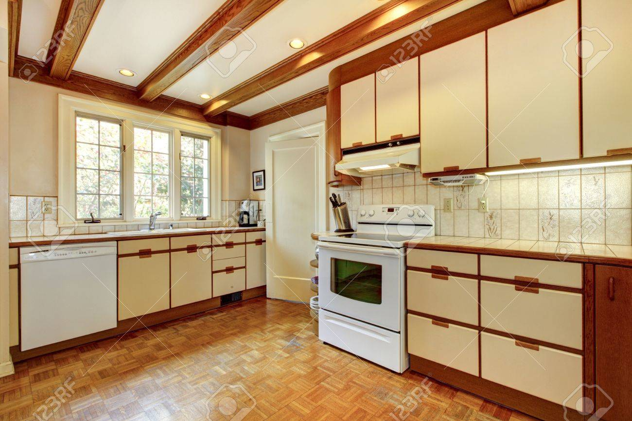 Simple White Kitchen old simple white and wood kitchen with hardwood floor and white
