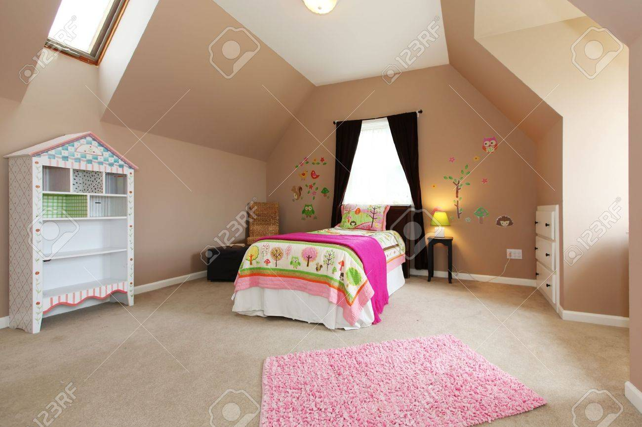 Bedroom interior pink - Baby Girl Kids Bedroom Interior With Pink Bed And Brown Walls Stock Photo 13888931