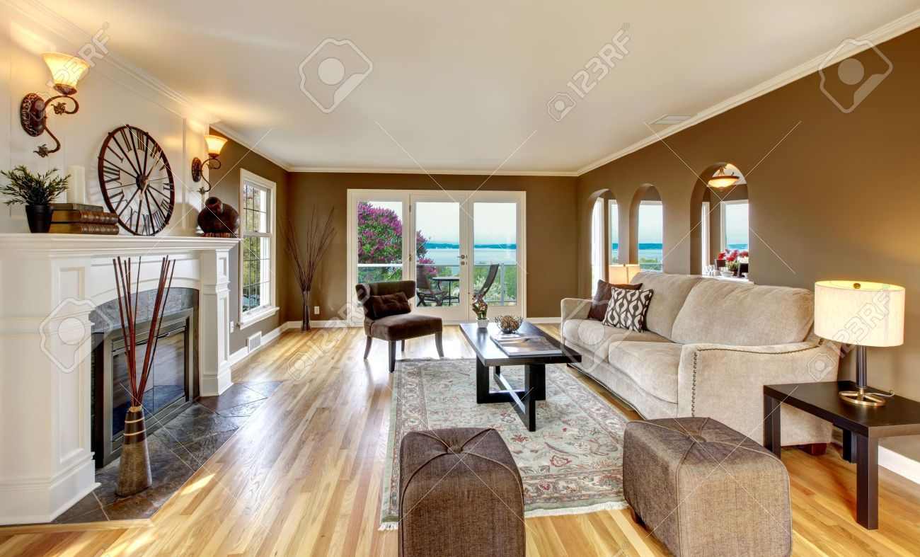 beautiful living room with brown walls and fireplace stock photo 13888944 beautiful brown living room