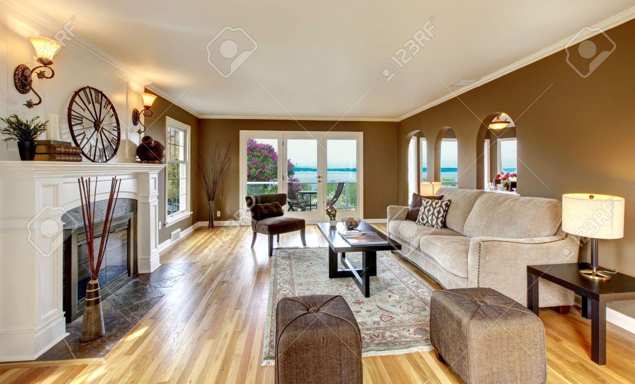 Schönes Wohnzimmer Mit Braunen Wänden Und Kamin. Standard Bild   13888944
