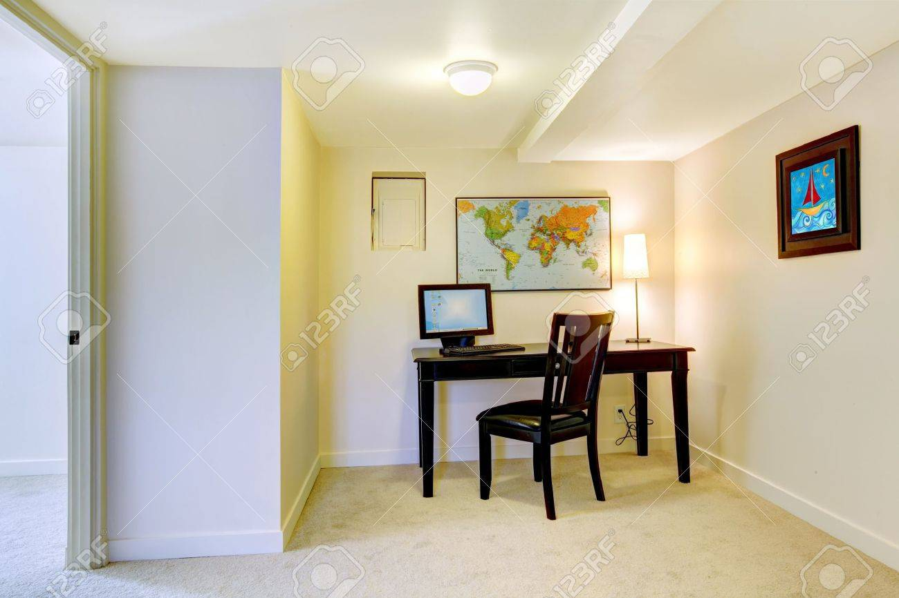 Home Office Desk With Map On The White Wall And Art. Stock Photo ...