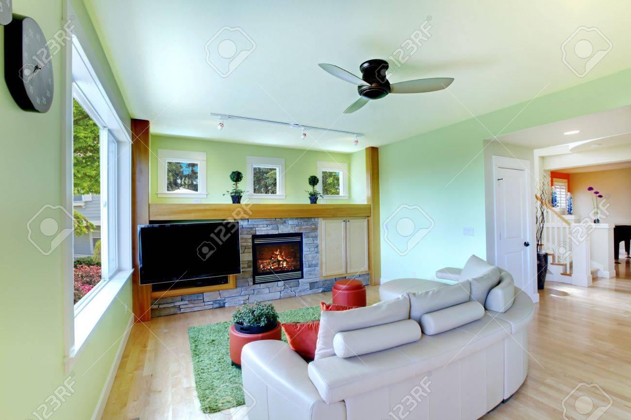 Sala De Estar Con Tv Color Verde Negro Y Un Sof Beige Con Chimenea  -> Sala De Tv Verde