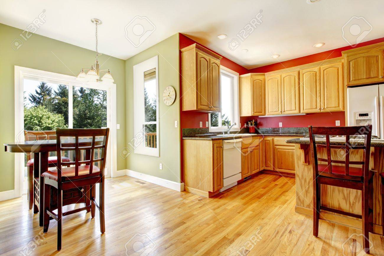 Yellow And Red Kitchen Yellow Kitchen With Wood And Red And Green Colors With Island