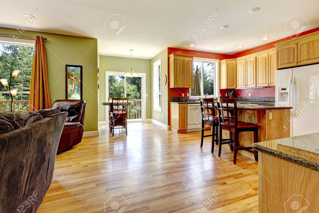 Green and yellow living room - Kitchen With Yellow Wood Floor And Green Wall Living Room