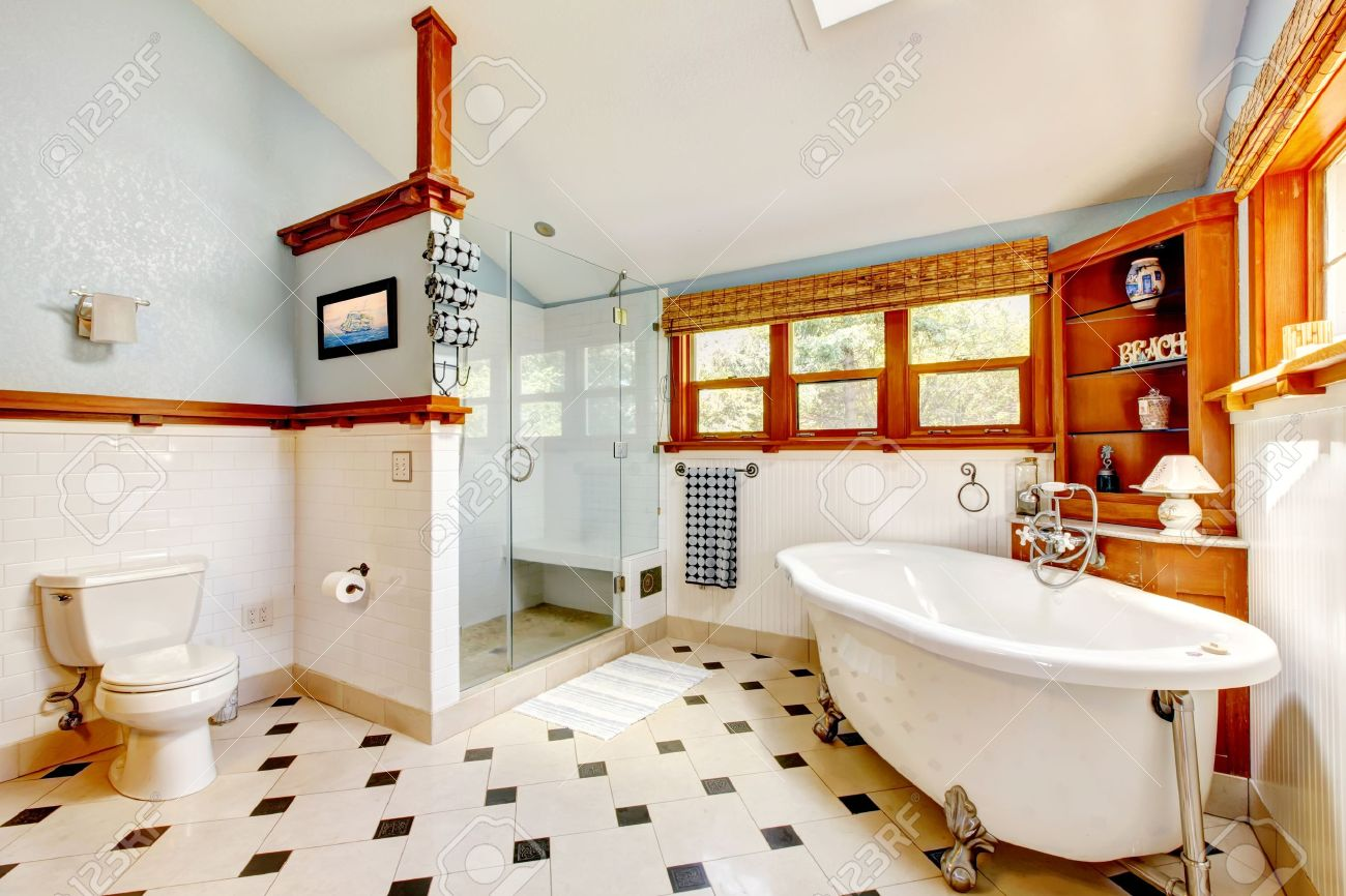 Large Classic Blue Bathroom Interior With Tub And Tiles And Wood ...