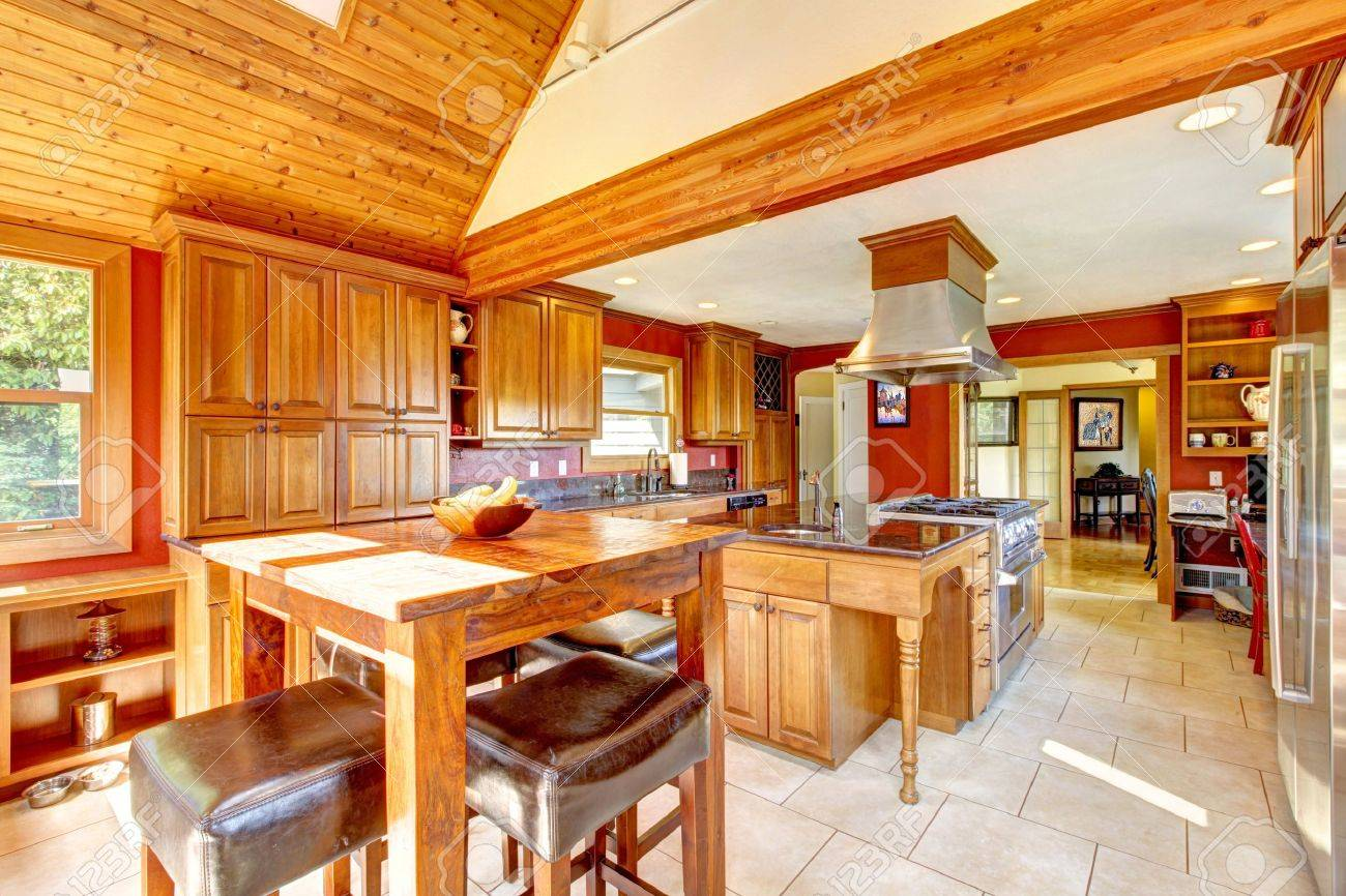 Red Large Luxury Kitchen Interior With Beautiful Wood And Tile