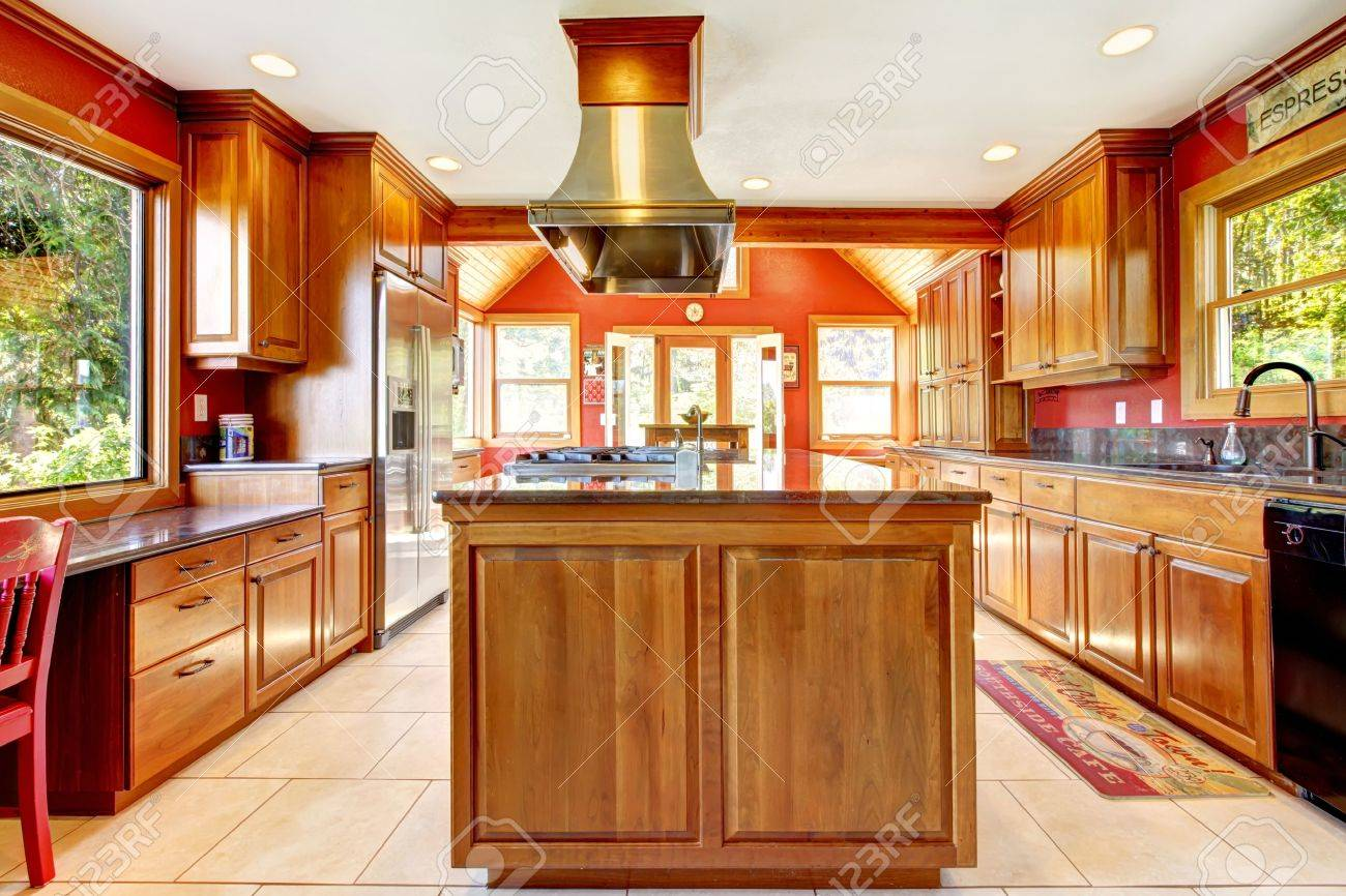 Large Red Luxury Kitchen Interior With Wood And Tiles Stock Photo Picture And Royalty Free Image Image 14615077
