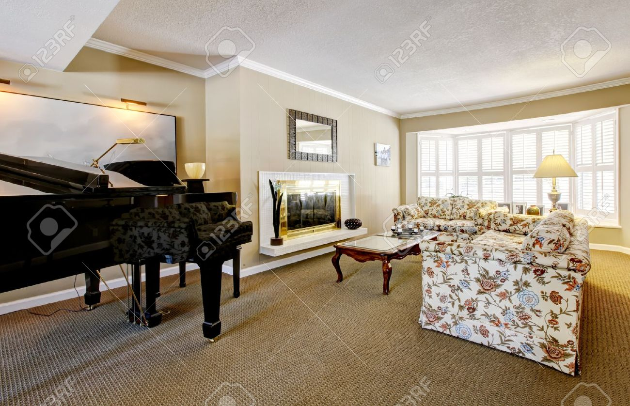 elegant living room interior with piano fireplace and anqique