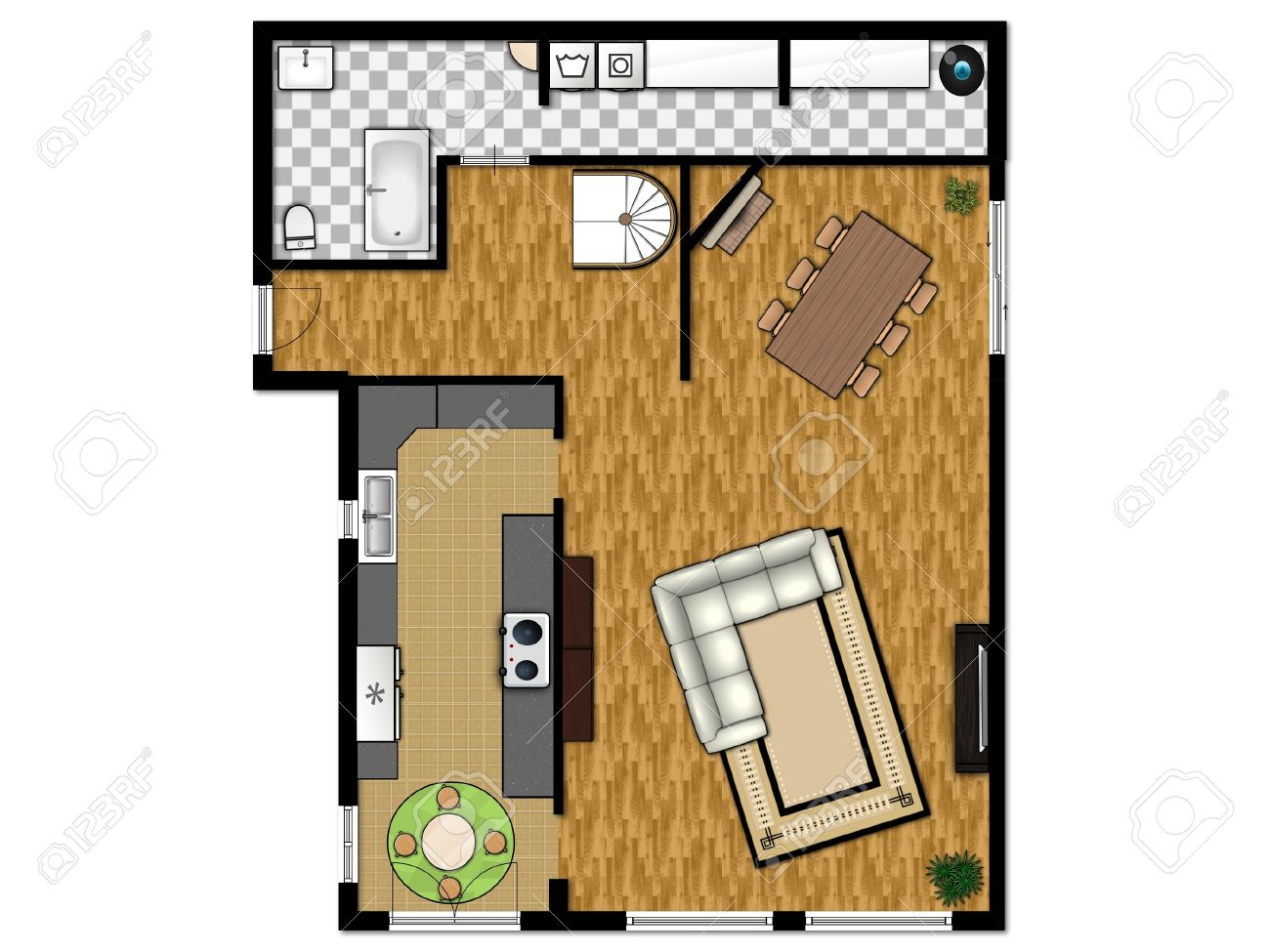2D Floor Plan Of The First Level With Kitchen, Living Room, Bathroom And  Laundry