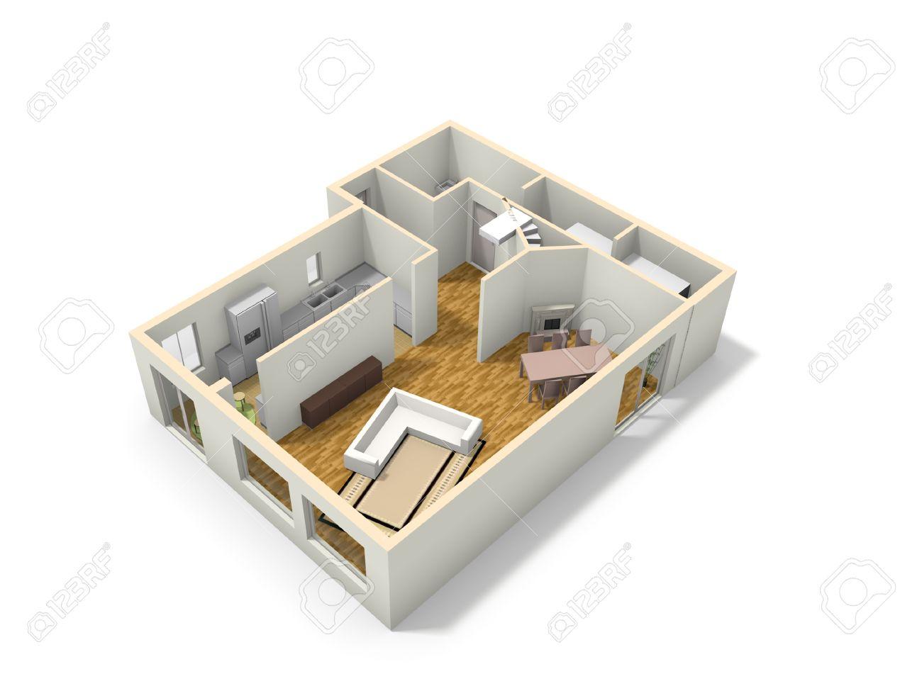 3d plattegrond van het huis met keuken, woonkamer, eetkamer rom, Deco ideeën