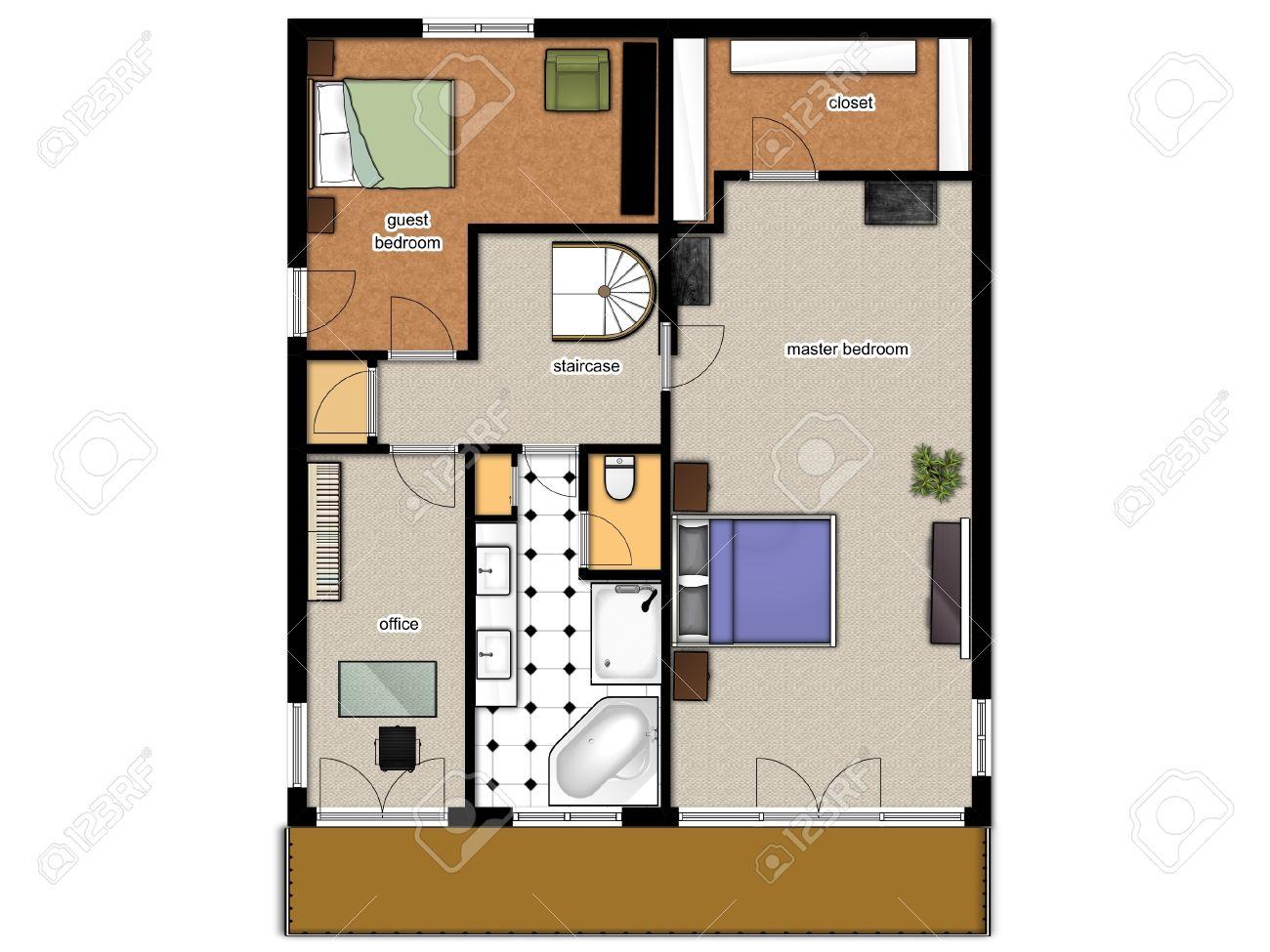 piano piano 2d con camere da letto, ufficio, bagno e ripostiglio ... - Da Ripostiglio A Bagno