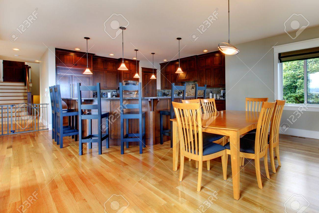 luxury home kitchen and dining room with open floor plan and