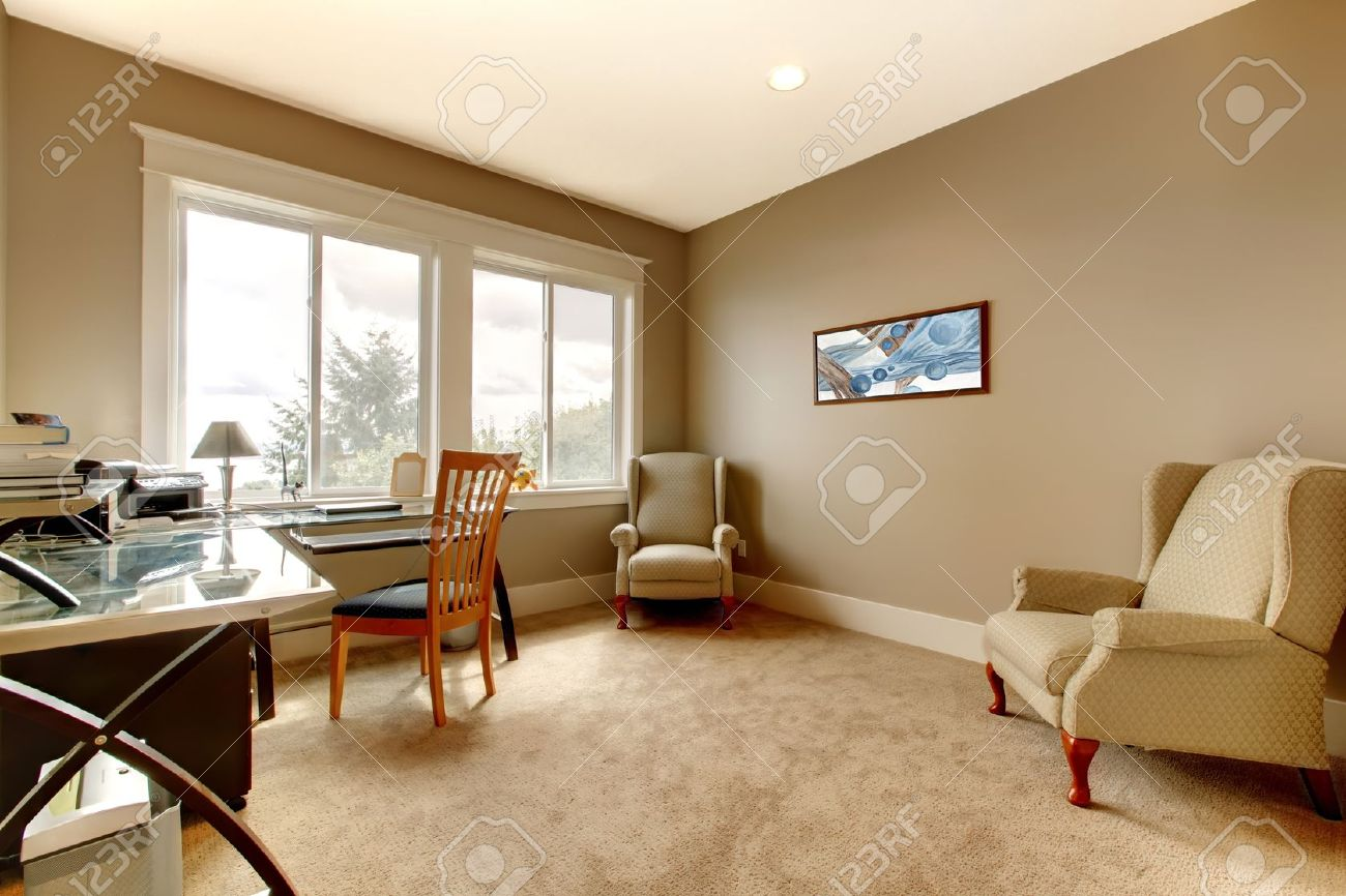 Home Office New House Large Room With Simple Furniture. Stock Photo ...