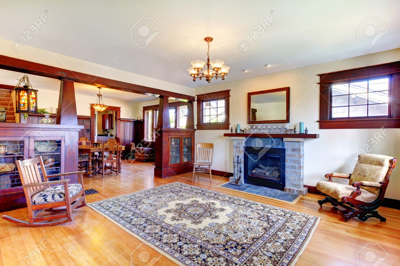 Beautiful Old Craftsman Style Home Living Room Interior With Fireplace.  Stock Photo   14874126 Part 87