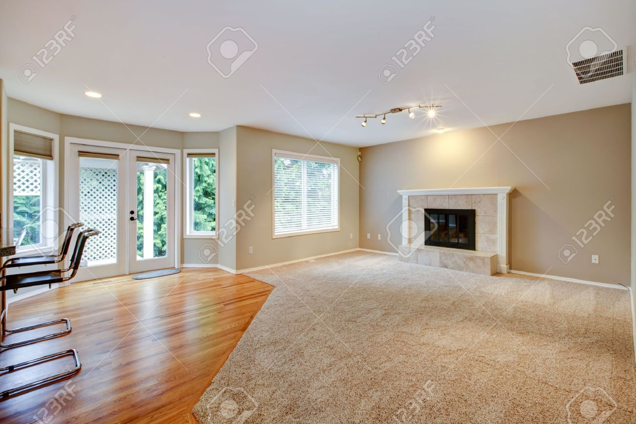 Large Bright Empty New Living Room With Fireplace And Beige Carpet Stock Photo