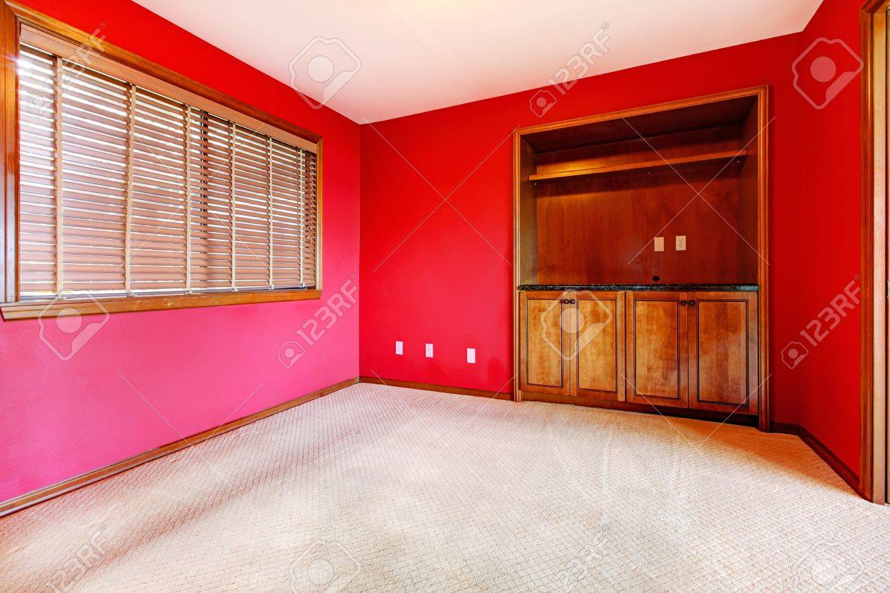Red empty room with window and buil in cabinet Stock Photo - 16306558
